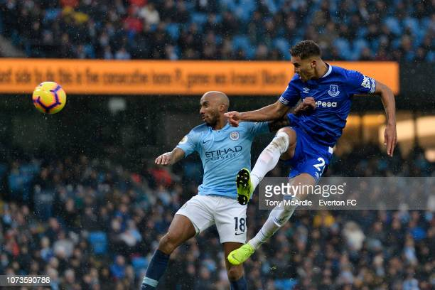 Dominic Calvert-Lewin of Everton heads to score during the Premier League match between Manchester City and Everton at the Etihad Stadium on December...