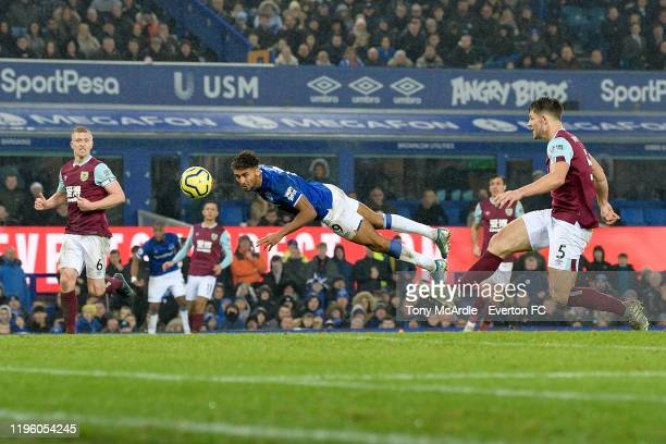 Dominic CalvertLewin of Everton heads to score during the Premier League match between Everton and Burnley at Goodison Park on December 26 2019 in...