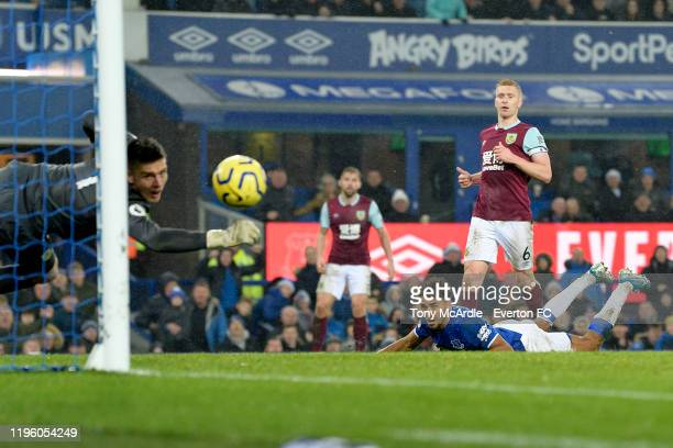 Dominic Calvert-Lewin of Everton heads to score during the Premier League match between Everton and Burnley at Goodison Park on December 26, 2019 in...