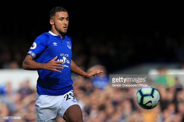 Dominic CalvertLewin of Everton in action during the Premier League match between Everton and West Ham United at Goodison Park on September 16 2018...