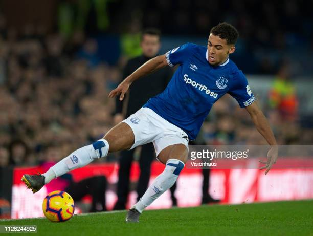 Dominic CalvertLewin of Everton in action during the Premier League match between Everton FC and Manchester City at Goodison Park on February 6 2019...