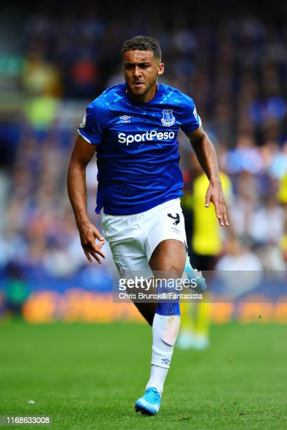 Dominic CalvertLewin of Everton in action during the Premier League match between Everton FC and Watford FC at Goodison Park on August 17 2019 in...