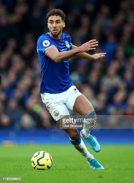 Dominic CalvertLewin of Everton in action during the Premier League match between Everton FC and Chelsea FC at Goodison Park on December 07 2019 in...