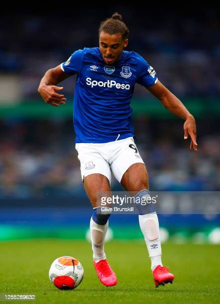 Dominic CalvertLewin of Everton in action during the Premier League match between Everton FC and Southampton FC at Goodison Park on July 09 2020 in...
