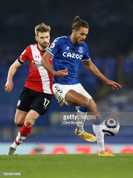 Dominic Calvert-Lewin of Everton in action during the Premier League match between Everton and Southampton at Goodison Park on March 01, 2021 in...