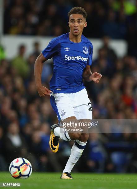 Dominic CalvertLewin of Everton in action during the UEFA Europa League Third Qualifying Round First Leg match between Everton and MFK Ruzomberok at...