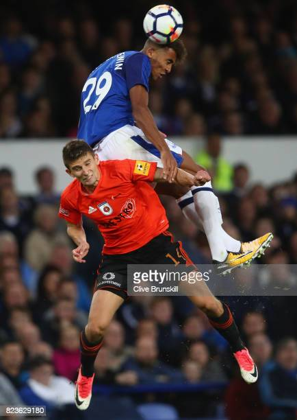 Dominic CalvertLewin of Everton in action with Simon Kupec of MFK Ruzomberok during the UEFA Europa League Third Qualifying Round First Leg match...