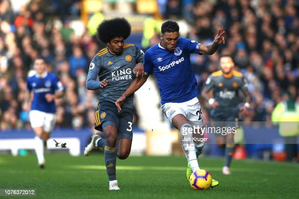 Dominic CalvertLewin of Everton is closed down by Hamza Choudhury of Leicester City during the Premier League match between Everton FC and Leicester...