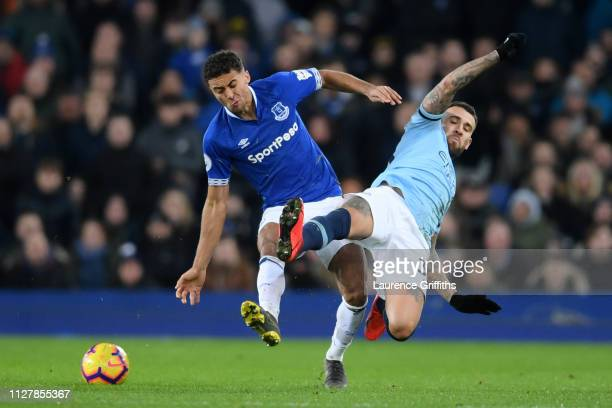 Dominic CalvertLewin of Everton is tackled by Nicolas Otamendi of Manchester City during the Premier League match between Everton FC and Manchester...