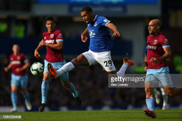 Dominic CalvertLewin of Everton looks to control the ball in the air during the Premier League match between Everton FC and West Ham United at...