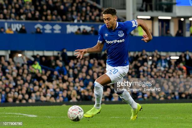 Dominic Calvert-Lewin of Everton on the ball during the Emirates FA Cup Third Round match between Everton and Lincoln City at Goodison Park on...