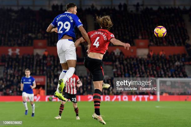 Dominic CalvertLewin of Everton out jumps Jannik Vestergaard for the ball during the Premier League match between Southampton FC and Everton FC at St...