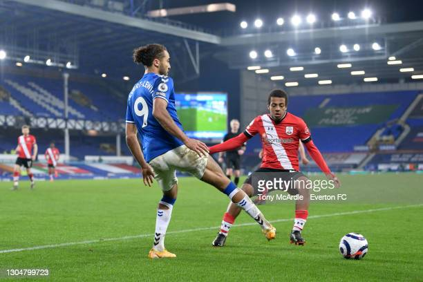 Dominic Calvert-Lewin of Everton passes the ball during the Premier League match between Everton and Southampton at Goodison Park on March 2021 in...