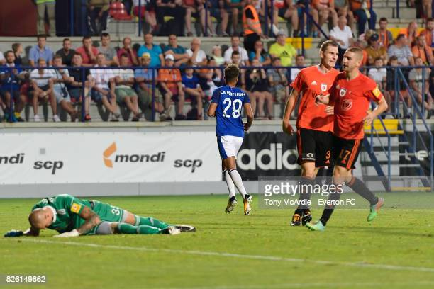 Dominic CalvertLewin of Everton peels away after scoring during UEFA Europa League Qualifier match between MFK Ruzomberok and Everton on August 3...