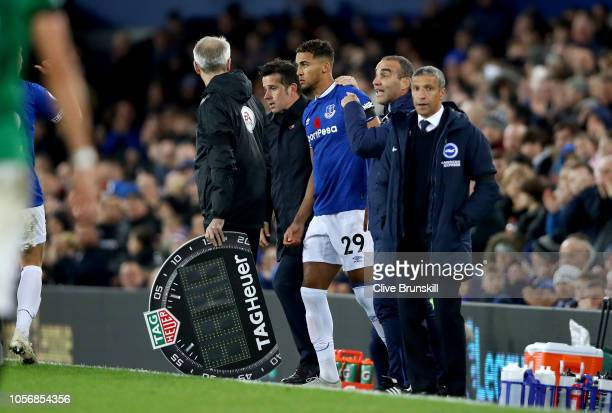 Dominic CalvertLewin of Everton preapres to come on during the Premier League match between Everton FC and Brighton Hove Albion at Goodison Park on...