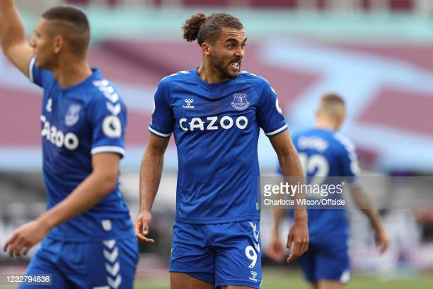Dominic Calvert-Lewin of Everton pulls a face during the Premier League match between West Ham United and Everton at London Stadium on May 9, 2021 in...