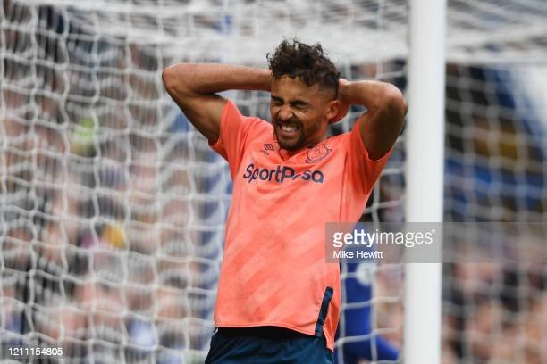Dominic Calvert-Lewin of Everton reacts after he misses a chance during the Premier League match between Chelsea FC and Everton FC at Stamford Bridge...