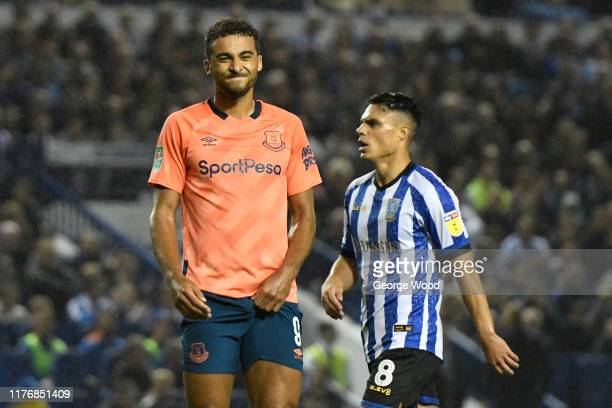 Dominic Calvert-Lewin of Everton reacts during the Carabao Cup Third Round match between Sheffield Wednesday and Everton FC at Hillsborough on...