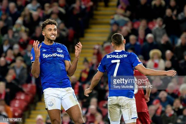 Dominic CalvertLewin of Everton rues a missed opportunity during the FA Cup Third Round match between Liverpool and Everton at Anfield on January 5...