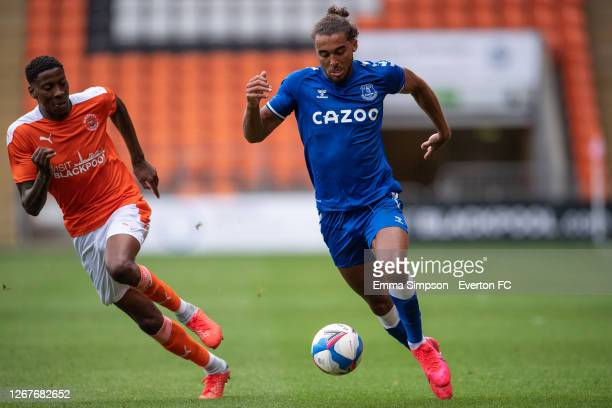 Dominic Calvert-Lewin of Everton runs with the ball during the pre-season friendly between Blackpool and Everton at Bloomfield Road on August 22,...
