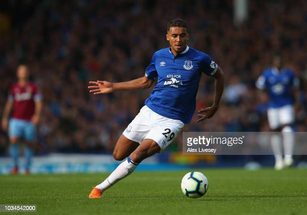 Dominic CalvertLewin of Everton runs with the ball during the Premier League match between Everton FC and West Ham United at Goodison Park on...