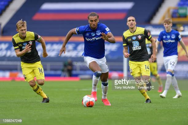 Dominic Calvert-Lewin of Everton runs with the ball during the Premier League match Everton and Southampton at Goodison Park on July 9 2020 in...