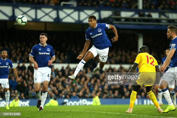 Dominic CalvertLewin of Everton scores his sides first goal during the Premier League match between Everton FC and Crystal Palace at Goodison Park on...