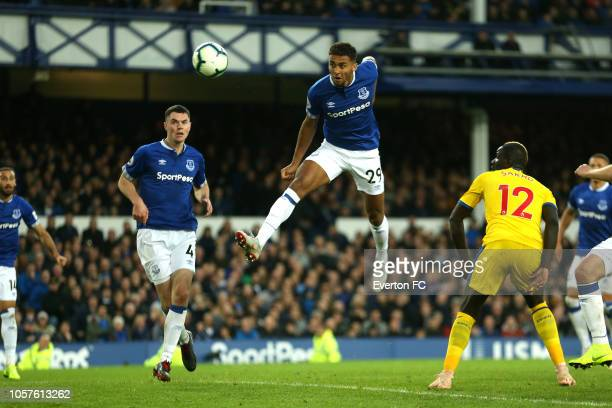 Dominic Calvert-Lewin of Everton scores his sides first goal during the Premier League match between Everton FC and Crystal Palace at Goodison Park...