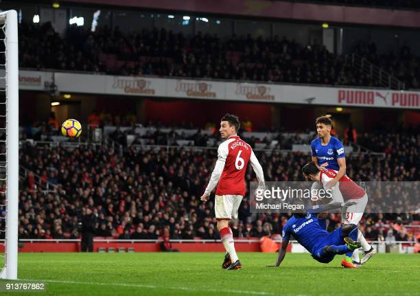 Dominic CalvertLewin of Everton scores his sides first goal during the Premier League match between Arsenal and Everton at Emirates Stadium on...