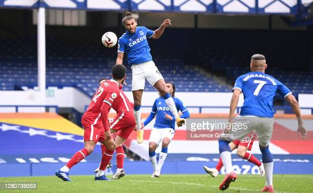 Dominic Calvert-Lewin of Everton scores his sides second goal during the Premier League match between Everton and Liverpool at Goodison Park on...