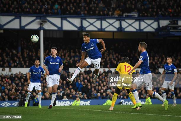Dominic CalvertLewin of Everton scores his team's first goal during the Premier League match between Everton FC and Crystal Palace at Goodison Park...