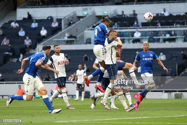 Dominic Calvert-Lewin of Everton scores his team's first goal during the Premier League match between Tottenham Hotspur and Everton at Tottenham...