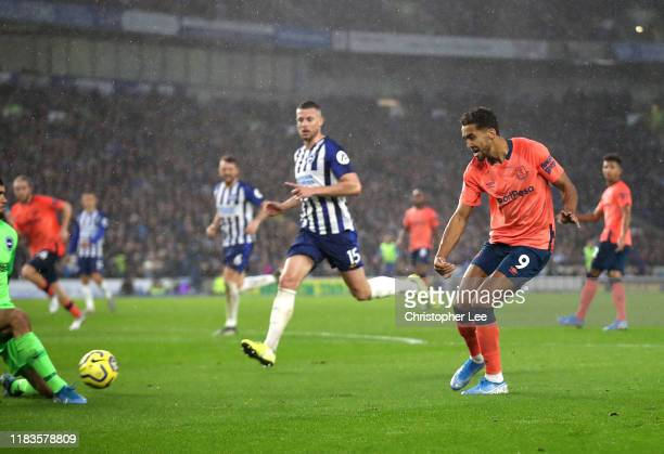 Dominic CalvertLewin of Everton scores his team's second goal during the Premier League match between Brighton Hove Albion and Everton FC at American...