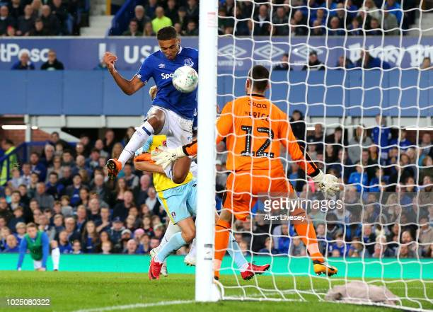 Dominic CalvertLewin of Everton scores his team's second goal past Lewis Price of Rotherham United during the Carabao Cup Second Round match between...