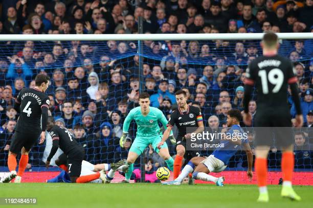 Dominic CalvertLewin of Everton scores his team's third goal during the Premier League match between Everton FC and Chelsea FC at Goodison Park on...