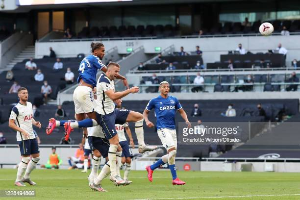 Dominic Calvert-Lewin of Everton scores their 1st goal during the Premier League match between Tottenham Hotspur and Everton at Tottenham Hotspur...