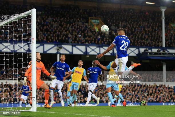 Dominic CalvertLewin of Everton scores their 2nd goal during the Carabao Cup Second Round match between Everton and Rotherham United at Goodison Park...