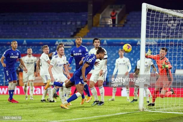 Dominic Calvert-Lewin of Everton scores their side's second goal past Illan Meslier of Leeds United during the Premier League match between Leeds...