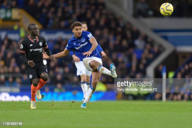 Dominic CalvertLewin of Everton shoots at goal during the Premier League match between Everton and Chelsea at Goodison Park on December 7 2019 in...