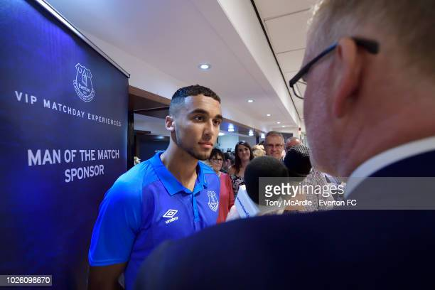 Dominic CalvertLewin of Everton speaks to club media after the Premier League match between Everton and Huddersfield Town at Goodison Park on...