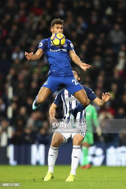 Dominic CalvertLewin of Everton wins a header over Ahmed ElSayed Hegazi of West Bromwich Albion during the Premier League match between West Bromwich...