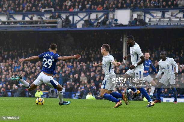 Dominic CalvertLewin of Everton with a chance on goal during the Premier League match between Everton and Chelsea at Goodison Park on December 23...