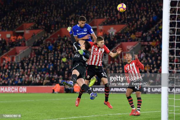 Dominic CalvertLewin of Everton with a headed chance on goal during the Premier League match between Southampton FC and Everton FC at St Mary's...