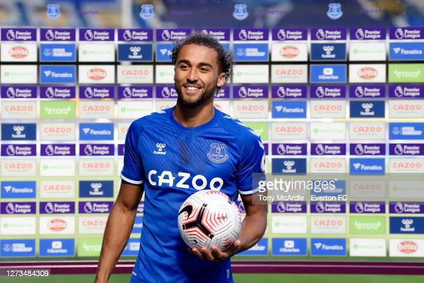 Dominic Calvert-Lewin of Everton with his hat-trick match ball after the Premier League match between Everton and West Bromwich Albion at Goodison...