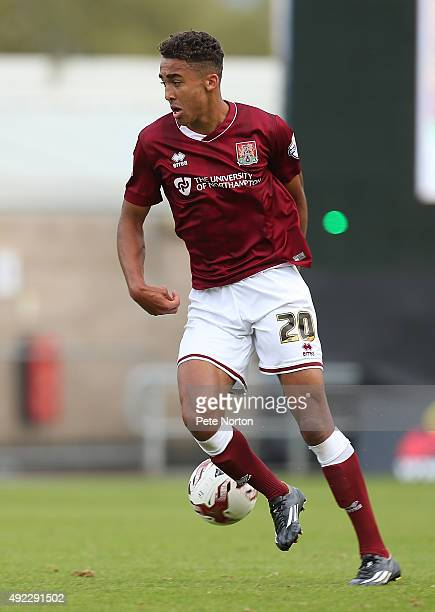 Dominic Calvert-Lewin of Northampton Town in action during the Sky Bet League Two match between Northampton Town and Hartlepool United at Sixfields...