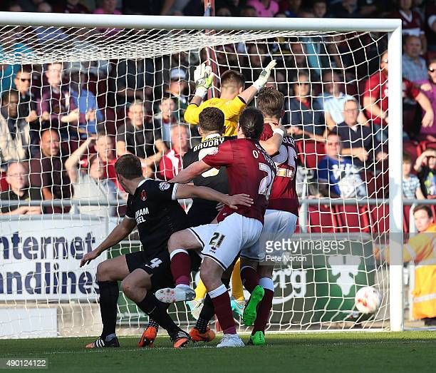 Dominic Calvert-Lewin of Northampton Town scores his sides goal during the Sky Bet League Two match between Northampton Town and Leyton Orient at...