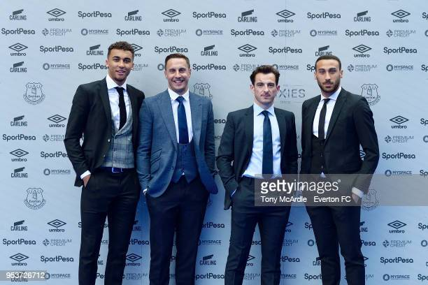 Dominic CalvertLewin Phil Jagielka Leighton Baines and Cenk Tosun of Everton during The Dixies end of season awards at the Royal Liverpool...
