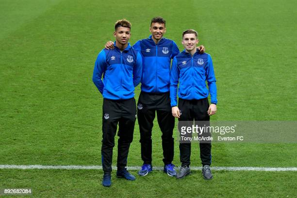 Dominic CalvertLewin poses for a photo with team mates Jonjoe Kenny Mason Holgate after signing a new Everton contract at USM Finch Farm on December...