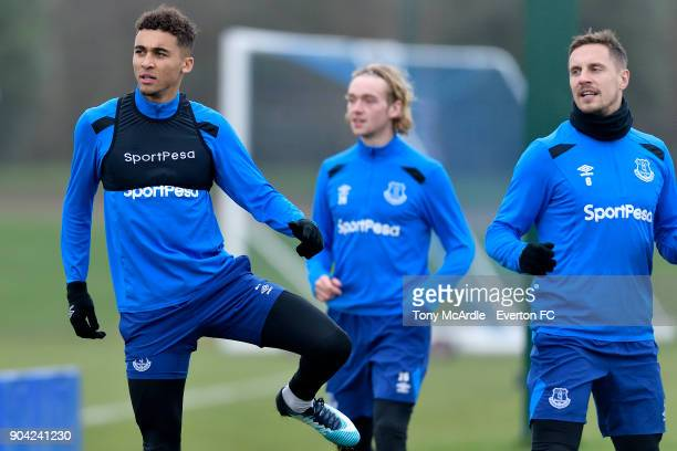 Dominic CalvertLewin Tom Davies and Phil Jagielka during the Everton FC training session at USM Finch Farm on January 12 2018 in Halewood England