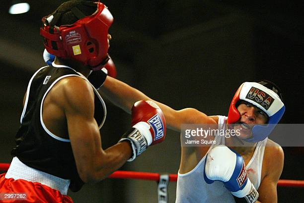 Dominic Chavez lands a punch on the face of Lorenzo Reynolds during the United States Olympic Team Boxing Trials on February 19 2004 at Tunica Arena...